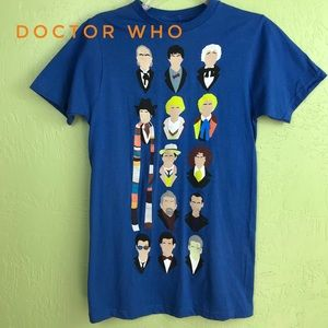 NWT Doctor Who 13 Doctors Faces Graphic Tee